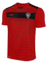 EAST COAST FC SHORT SLEEVE HOME JERSEY  --RED BLACK  --  YM, YL ARE ON BACK ORDER, WILL SHIP BY 10/4