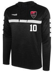 LOUDOUN GIRLS TRAVEL MANDATORY  SPARROW HOODED TRAINING TOP   --  BLACK WHITE  --  YM, YL, AS, AXL ARE ON BACK ORDER, WILL SHIP BY 8/21
