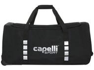 "CAPELLI SPORT WHEELED DUFFLE BAG (32"" L x 17.5"" W x 16"" H) -- BLACK SILVER"