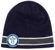 ADULT CS ONE STTRIPED KNIT BEANIE -- NAVY