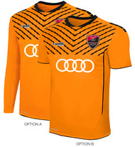 LOUDOUN GIRLS GOALKEEPER ECNL  FLASH SPARROW SHORT SLEEVE JERSEY -- NEON ORANGE BLACK