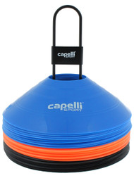 CAPELLI SPORT 30 PCS TRAINING CONES WITH METAL CARRIER  --  MULTI