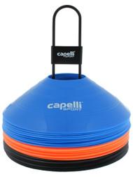 CAPELLI SPORT 30 PCS TRAINING CONES WITH METAL CARRIER  --  MULTI