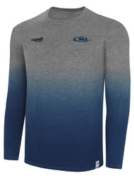 RUSH RHODE ISLAND  LIFESTYLE DIP DYE TSHIRT --  LIGHT HEATHER GREY PROMO BLUE  **option to customize with your local club name