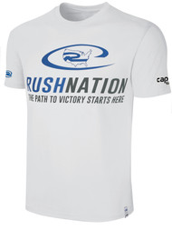 RUSH RHODE ISLAND  NATION BASIC TSHIRT -- WHITE  PROMO BLUE GREY **option to customize with your local club name