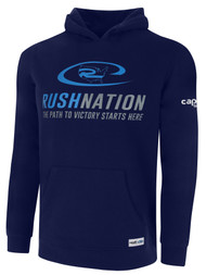 RUSH WYOMING NATION BASIC HOODIE -- NAVY WHITE **option to customize with your local club name