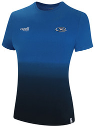 RUSH WYOMING WOMEN LIFESTYLE DIP DYE TSHIRT --  PROMO BLUE BLACK **option to customize with your local club name