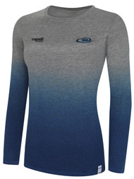 RUSH WYOMING LIFESTYLE WOMEN DIP DYE TSHIRT  --  LIGHT HEATHER GREY PROMO BLUE **option to customize with your local club name