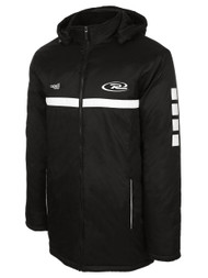 RUSH JUNEAU   STADIUM COAT --BLACK WHITE  --  AM IS ON BACK ORDER, WILL SHIP 7/24