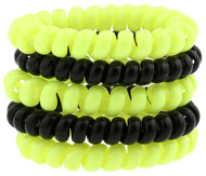 RUSH JUNEAU CAPELLI SPORT 5 PACK PLASTIC PHONE CORD PONIES --  NEON YELLOW