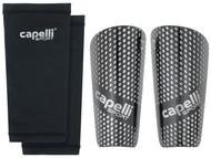 COLONIE SC  CAPELLI SPORT GRADIENT CUBES SHINGUARDS WITH SLEEVES --BLACK SILVER METALLIC