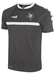 CENTRO SOCCER SPARROW SHORT SLEEVE TRAINING TOP    --    DARK GREY WHITE