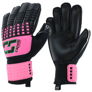 CALIFORNIA RUSH CS 4 CUBE TEAM YOUTH GOALIE GLOVE WITH FINGER PROTECTION -- NEON PINK NEON GREEN BLACK