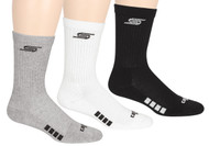 3 PACK CREW W/ 1/2 TERRY CUSHION, ARCH SUPPORT, Y HEAL CONSTRUCTION & HAND LINKED TOE SEAM -- BLACK LIGHT HEATHER GREY WHITE