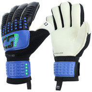 QUAD CITIES RUSH CS 4 CUBE COMPETITION ELITE ADULT GOALKEEPER GLOVE WITH FINGER PROTECTION -- PROMO BLUE NEON GREEN BLACK