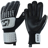 PIKES PEAK RUSH CS 4 CUBE TEAM ADULT  GOALIE GLOVE WITH FINGER PROTECTION -- SILVER BLACK