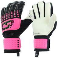 PUEBLO WEST RUSH CS 4 CUBE COMPETITION ELITE YOUTH GOALKEEPER GLOVE WITH FINGER PROTECTION-- NEON PINK NEON GREEN BLACK