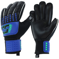 WISCONSIN WEST RUSH CS 4 CUBE TEAM ADULT  GOALIE GLOVE WITH FINGER PROTECTION -- PROMO BLUE NEON GREEN BLACK