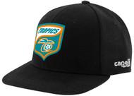 FLORIDA TROPICS PRO CS FLAT BRIM  CAP SNAPBACK W/ TROPICS LOGO-- BLACK WHITE