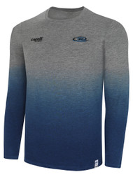 MICHIGAN RUSH  LANSING  LIFESTYLE DIP DYE TSHIRT --  LIGHT HEATHER GREY PROMO BLUE  **option to customize with your local club name
