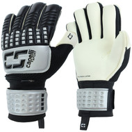 SOCCER STARS UNITED 4 CUBE COMPETITION ELITE ADULT GOALKEEPER GLOVE WITH FINGER PROTECTION -- SILVER BLACK