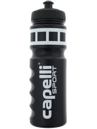 SOCCER STARS UNITED WATER BOTTLE WITH LIQUID MEASUREMENT -- BLACK WHITE