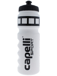 SOCCER STARS UNITED WATER BOTTLE WITH LIQUID MEASUREMENT --  WHITE BLACK