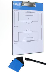 SOCCER STARS UNITED CAPELLI SPORT SOCCER COACH BOARD WITH ERASER, MARKER, AND MAGNETS -- PROMO BLUE WHITE