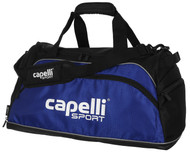 SOCCER STARS UNITED MEDIUM DUFFLE BAG -- BLACK ROYAL BLUE