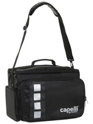 SOCCER STARS UNITED 4 CUBE MEDICAL BAG WITH EXTERIOR ZIP POCKETS  --    BLACK SILVER