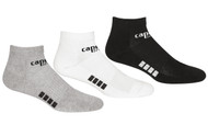 SACHEM CAPELLI SPORT 3 PACK LOW CUT SOCKS -- BLACK LIGHT HEATHER GREY WHITE