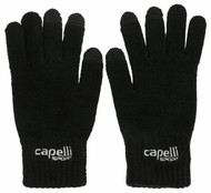 SACHEM KNIT  GLOVE  WITH 3 FINGER TOUCH    --  BLACK WHITE