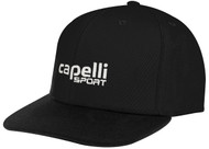 SACHEM FLAT BRIM  CAP WITH EMBROIDERED LOGO -- BLACK WHITE