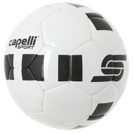 PRO 4 CUBE MACHINE STITCHED SOCCER BALL -- WHITE  BLACK