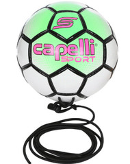 BOWERY HAND STITCHED SOCCER BALL WITH CORD --   NEON GREEN WHITE BLACK