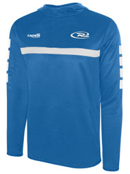 PUEBLO WEST RUSH SPARROW HOODED TRAINING TOP WITH THUMBHOLES -- PROMO BLUE WHITE
