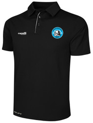 RUSH WISCONSIN WEST POLY POLO --  BLACK  WHITE