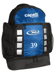 CAJUN RUSH LAFAYETTE   4 CUBE BACKPACK WITH EMBROIDERED LOGO -- BLACK BLUE