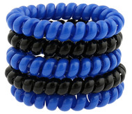 CAJUN RUSH CAPELLI SPORT 5 PACK PLASTIC PHONE CORD PONIES --  BRIGHT BLUE