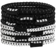 CAJUN RUSH CAPELLI SPORT 8 PACK NO SLIP ELASTIC PONY HOLDERS  --    BLACK  COMBO