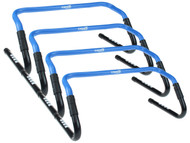 COLTS NECK CAPELLI SPORT 4 PIECES  ADJUSTABLE HURDLES WITH RUBBER FEET -- PROMO BLUE WHITE
