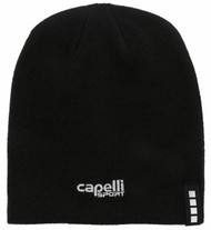 LOUDOUN BEANIE W/EMBROIDERED LOGO  --  BLACK WHITE
