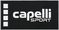 """BRAVO LARGE TOWEL WITH KNIT-IN CAPELLI SPORT LOGO 63""""x27.6"""" -- BLACK  WHITE"""