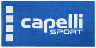 """BRAVO LARGE TOWEL WITH KNIT-IN CAPELLI SPORT LOGO 63""""x27.6"""" -- ROYAL BLUE WHITE"""