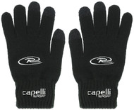 PUEBLO WEST  RUSH  SOCCER 3 FINGER TOUCH KNIT GLOVE WITH EMBROIDERED LOGO   --  BLACK WHITE