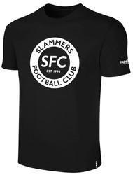 SLAMMERS CDA BASICS TEE SHIRT W/SFC CIRCLED LOGO -- BLACK WHITE