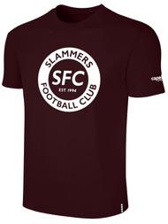 SLAMMERS CDA BASICS TEE SHIRT W/SFC CIRCLED LOGO --- MAROON WHITE