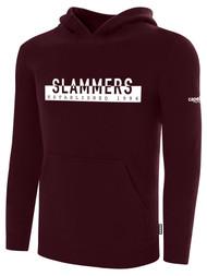 SLAMMERS CDA BASICS HOODIE W/SLAMMERS ESTABLISHED  GRAPHIC LOGO  -- MAROON WHITE