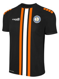 NYSC MADISON TRIPLE STRIPE AWAY JERSEY  --  BLACK WHITE ORANGE  --  YXS, YS, YXL ARE ON BACK ORDER, WILL SHIP BY 10/9