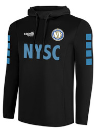 NYSC BASICS HOODED TRAINING TOP   -- BLACK SKY BLUE WHITE  --  YXL, MXL ARE ON BACK ORDER, WILL SHIP BY 10/9